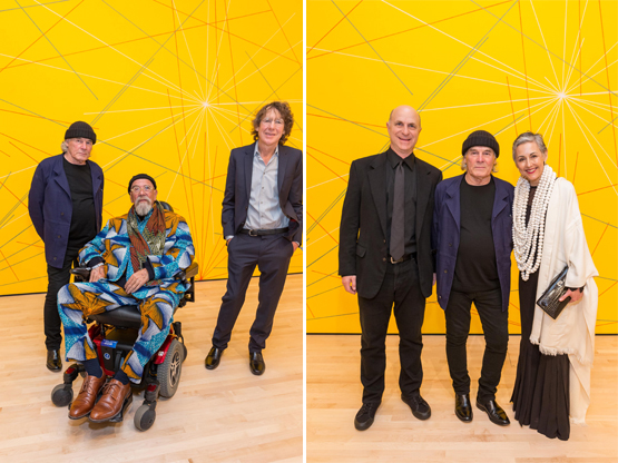 Left: Artists Brice Marden, Chuck Close, and Charles Ray at SFMOMA's Art Bash party.Right: Bill Fisher (son of Doris and Don Fisher), artist Brice Marden, and SF Symphony President Sako Fisher.
