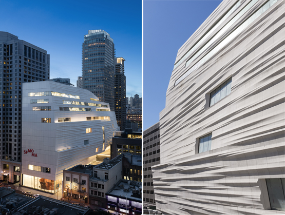 "Left: Snøhetta's 10-story addition is intended to mimic the fog and rippling water of the bay, though visitors have likened it to a marshmallow, a cruise ship, a supertanker and ""a gigantic meringue with a hint of Ikea.""Right: The façade's undulating white panels were manufactured locally by Kreysler and Associates."