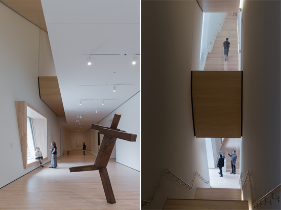 Left: A City Gallery at SFMOMA featuring Untitled by Joel Shapiro (1989).Right: Although beautiful, the long stairs in the City Gallery seemed daunting, so even though I'm a hiker, I took the elevators.