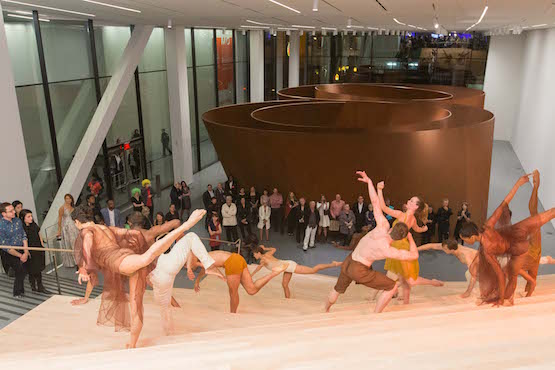 During the Art Bash party, Richard Serra's Sequence provided a stunning backdrop for a performance by Alonzo Kings LINES Ballet.