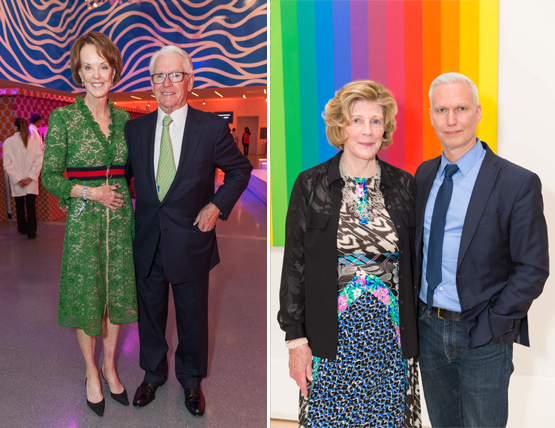 Left: Helen Schwab with husband Chuck Schwab, SFMOMA Board Chair and founder of the eponymous brokerage and banking company.Right: Agnes Gund, President Emerita of NYC's MoMA and Chair of MoMA PS1, with Klaus Biesenbach, Director of MoMA PS1.