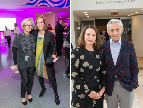 Left: SFMOMA curator Jill Sterrett with Board Vice-Chair Robin Wright.Right: Trustee Christine Lamond, with her husband Peter Lamond, Silicon Valley venture capitalist.