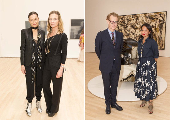 Left: Jeanne Greenberg Rohatyn, owner of NYC's Salon 94 gallery, with photographer Katy Grannan.Right: Philippe Vergne, Director of the LA Museum of Contemporary Art, with his wife Sylvia Chivaratanond.