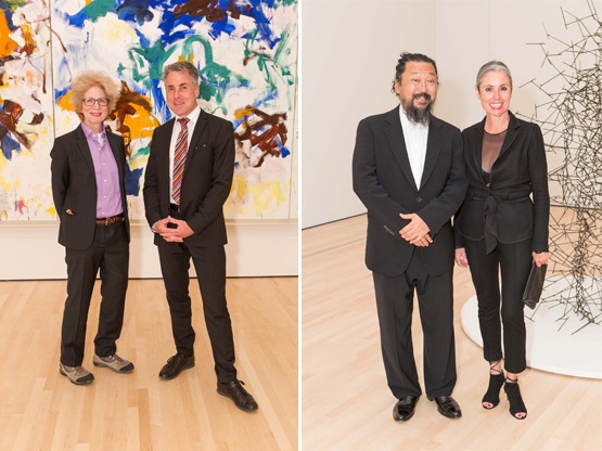 Left: Artist Julia Cher with Nils Ohlsen, a director at the National Museum of Art in Oslo.Right: Artist Takashi Murakami with Maria Blum.