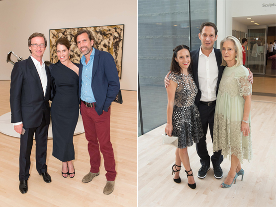 Left: Thaddaeus Ropac, a gallerist out of Paris and Austria, with Tracy O'Brian and Thaddeus Stauber.Right: Trustee Becca Prowda, Daniel Lurie, and SFMOMA Board Vice-Chair Mimi Haas.