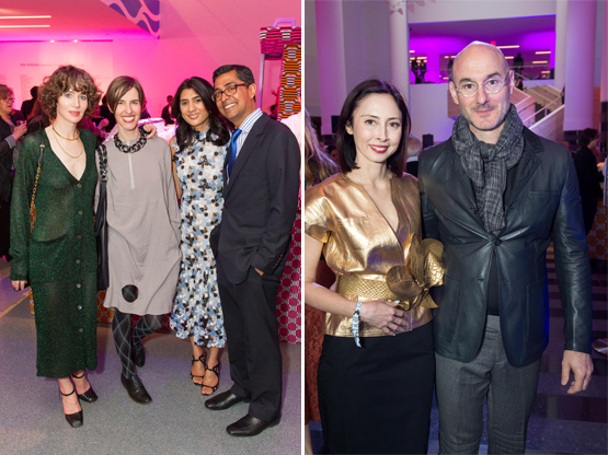 Left: Artist and actress Miranda July, Julia Bryan-Wilson, Trustee Alka Agrawal, and Ravin Agrawal.Right: Melissa Chiu, Director of DC's Hirshhorn Museum, and Benjamin Genocchio, Director of NYC's Armory Art Fair.