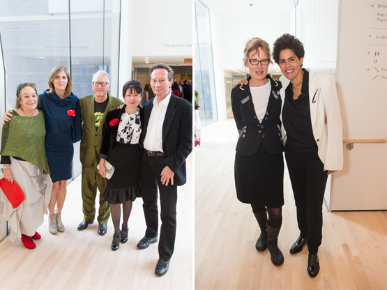 Left: Lisbeth Haas, SFMOMA Curator Jennifer Dunlop Fletcher, artist Chip Lord, artist Isabelle Sorrell, and Paul Klaus.Right: Artists Janet Cardiff and Julie Mehretu.