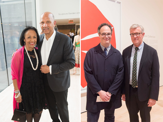 Left: Paula and Chuck Collins.Right: Gallerist Matthew Marks and Artforum editor Jack Bankowsky.
