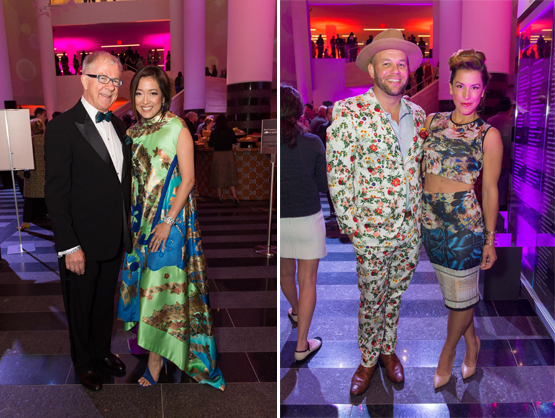 Left: Roger Evans with Aey Phanachet, founder of Thailand-based 100 Tonson Gallery.Right: Quint Gallery Director Ben Strauss-Malcolm, with Cambria Marshall.