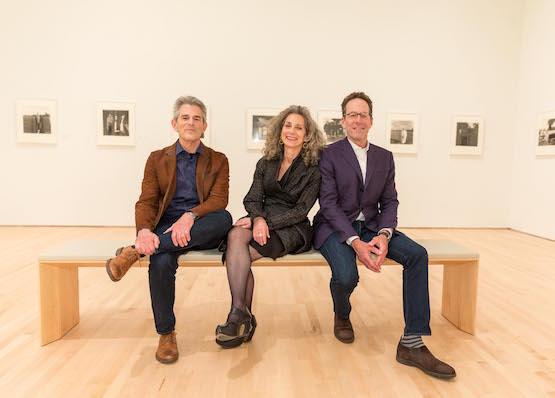 Gallerists Jeffrey Fraenkel and Frish Brandt, with Alan Mark.