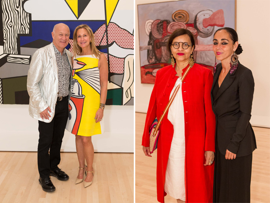 Left: Art collectors Larry and Marilyn Fields.Right: Loren McIntosh and artist Shirin Neshat.