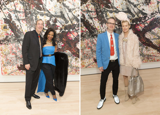 Left: Art collectors Fred Giuffrida and Pamela Joyner.Right: Artist Travis Somerville with Nancy Carroll.