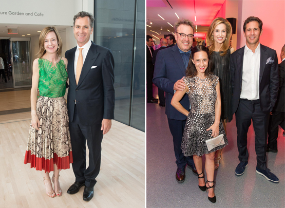Left: Katie Paige, SFMOMA Trustee and one of the FOG Art+Design Fair founders, with her husband Matt Paige.Right: FOG Art+Design Fair Co-Founder Stanlee Gatti, SFMOMA Trustee Becca Prowda, FOG Committee Member Kate Harbin Clammer, and Adam Clammer.
